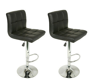 Set of 2 Adjustable Swivel Bar Stools Faux Leather Square Stitch Red Black White ()
