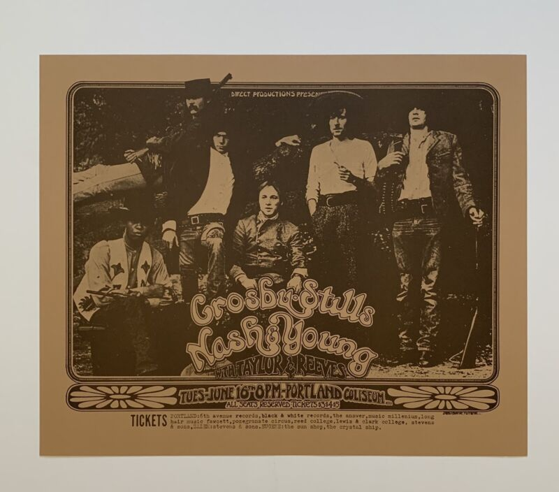 Crosby Stills Nash and Young with Taylor & Reeves Original Concert Poster Venue