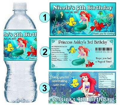 20 LITTLE MERMAID ARIEL BIRTHDAY PARTY FAVORS WATER BOTTLE - Ariel Birthday Party