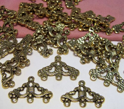 50 PCS~GOLD ORNATE CONNECTOR-EARRING COMPONENTS~CHANDELIER-FINDINGS-3 LOOPS