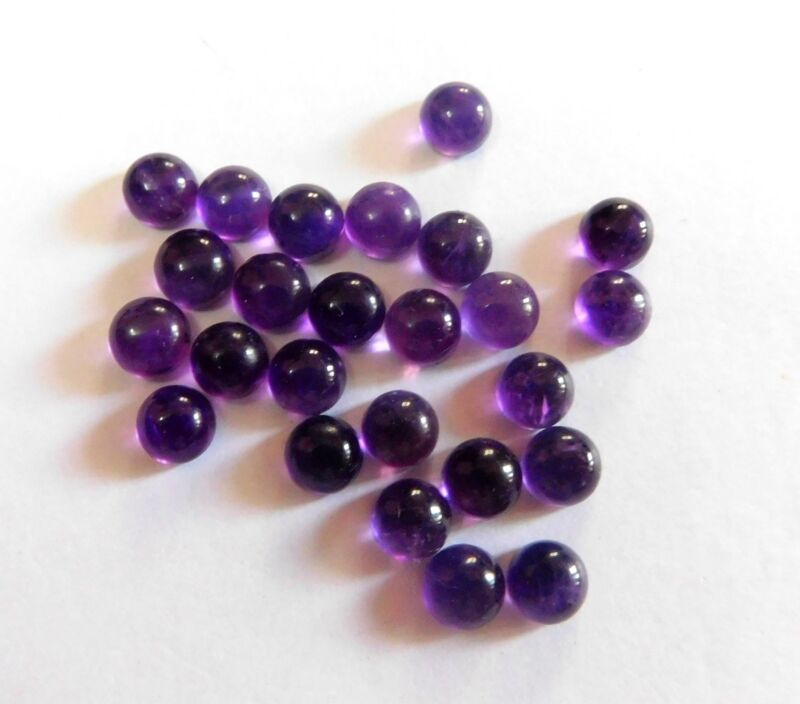 37.00 Cts 23 Pieces Natural Amethyst Round Cab Lot Loose Gemstone 7 X 7 MM G1289