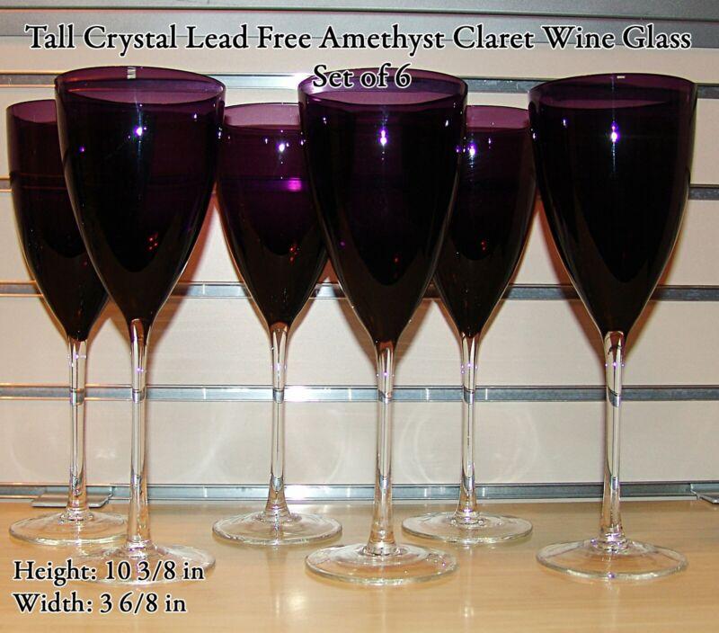 (Set 6) Tall Hand Blown Crystal Lead Free Amethyst Purple Claret Wine Glass MINT