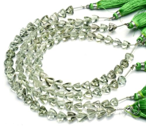 "Natural Gem Green Amethyst Prasiolite Smooth 8mm Size Trillion Beads 9"" Strand"