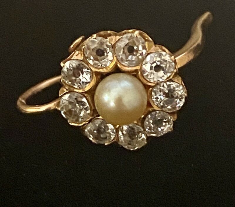 Russian Antique 18k 2.16Ct Diamond Natural Pearl Convertable Earrings