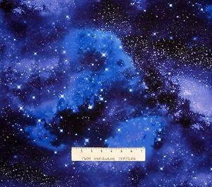 Space Fabric - Galaxy Stars Allover Blue Black - Timeless Treasures YARD
