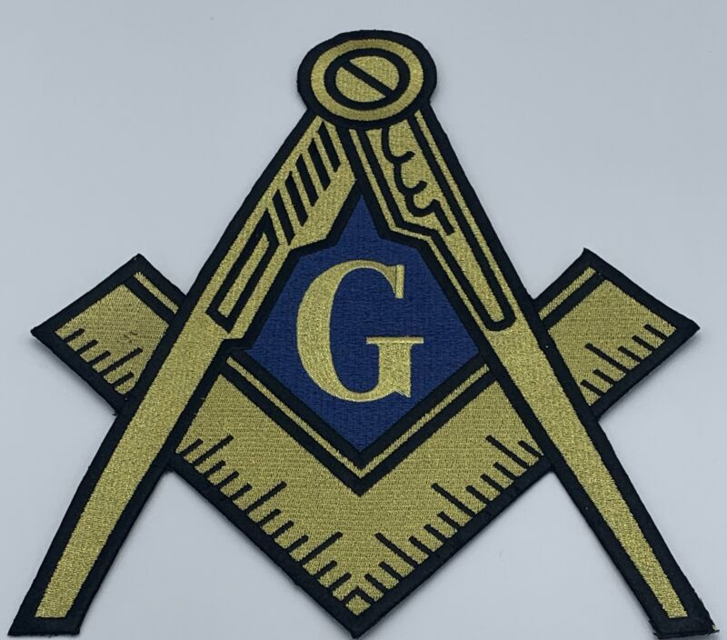 Mason - 5in Embroidered (Iron on) Patch / Gold