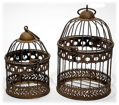 Rusty Brown Metal Bird Cage Set/2 Home Decor Accent Candle Holder 7