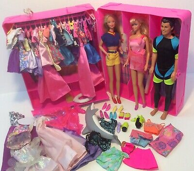 Vintage 1990s MATTEL Deluxe Trunk full Of BARBIE KEN Clothes Outfits Shoes Dolls