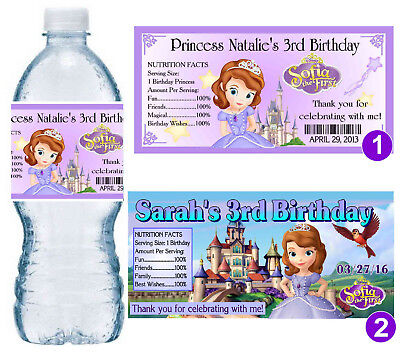 20 SOFIA THE FIRST BIRTHDAY PARTY FAVORS WATER BOTTLE LABELS ~ PERSONALIZED  - First Birthday Favors