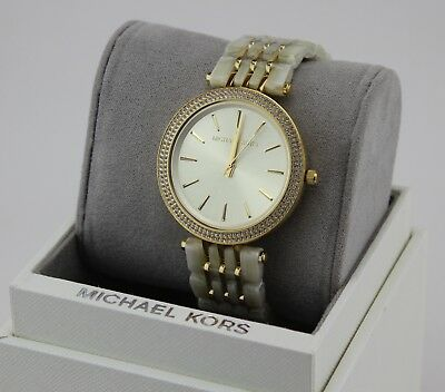 NEW AUTHENTIC MICHAEL KORS DARCI GOLD IVORY CRYSTALS WOMENS MK4325 WATCH