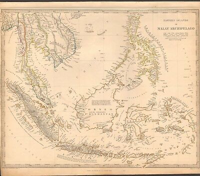1844 ANTIQUE MAP- SDUK - EASTERN ISLANDS OR MALAY ARCHIPELAGO