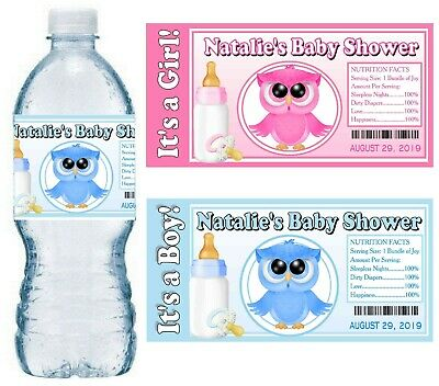 20 OWL BABY SHOWER FAVORS WATER BOTTLE LABELS GLOSSY (Owls Baby Shower)