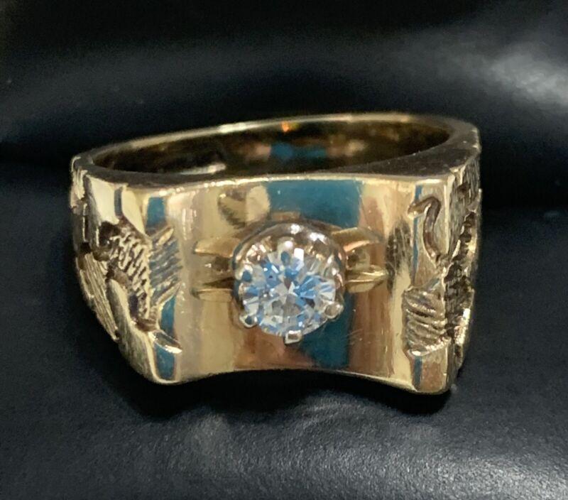 Mens 14kt. Yellow Gold Diamond Ring Size: 7.75 Vintage