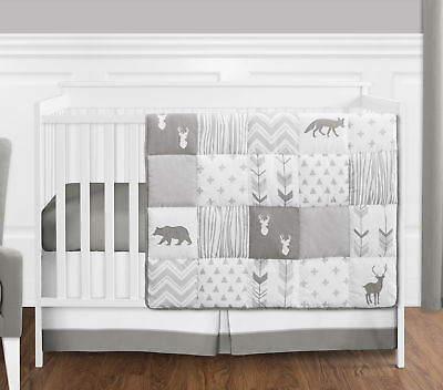 Sweet Jojo Gray & White Woodland Animal Baby 4p Crib Bedding Set Without Bumper for sale  USA