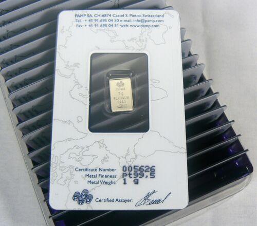 ASSAY CARD MISPRINT  1 Gram Platinum Pamp Suisse Fortuna Bar .9995 Fine