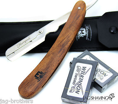 WOODEN BARBER HAIR SALON STRAIGHT CUT THROAT SHAVING RAZOR SHAVETTE + FREE BLADE