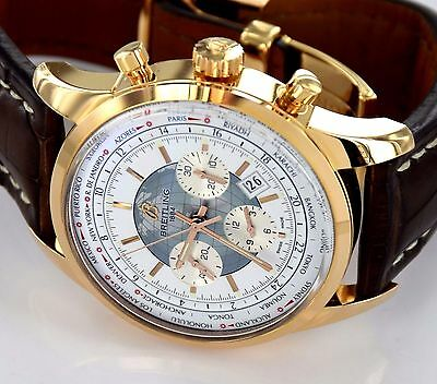 BREITLING Transocean Unitime World Time RB0510 Chronograph 18k Rose Gold Watch