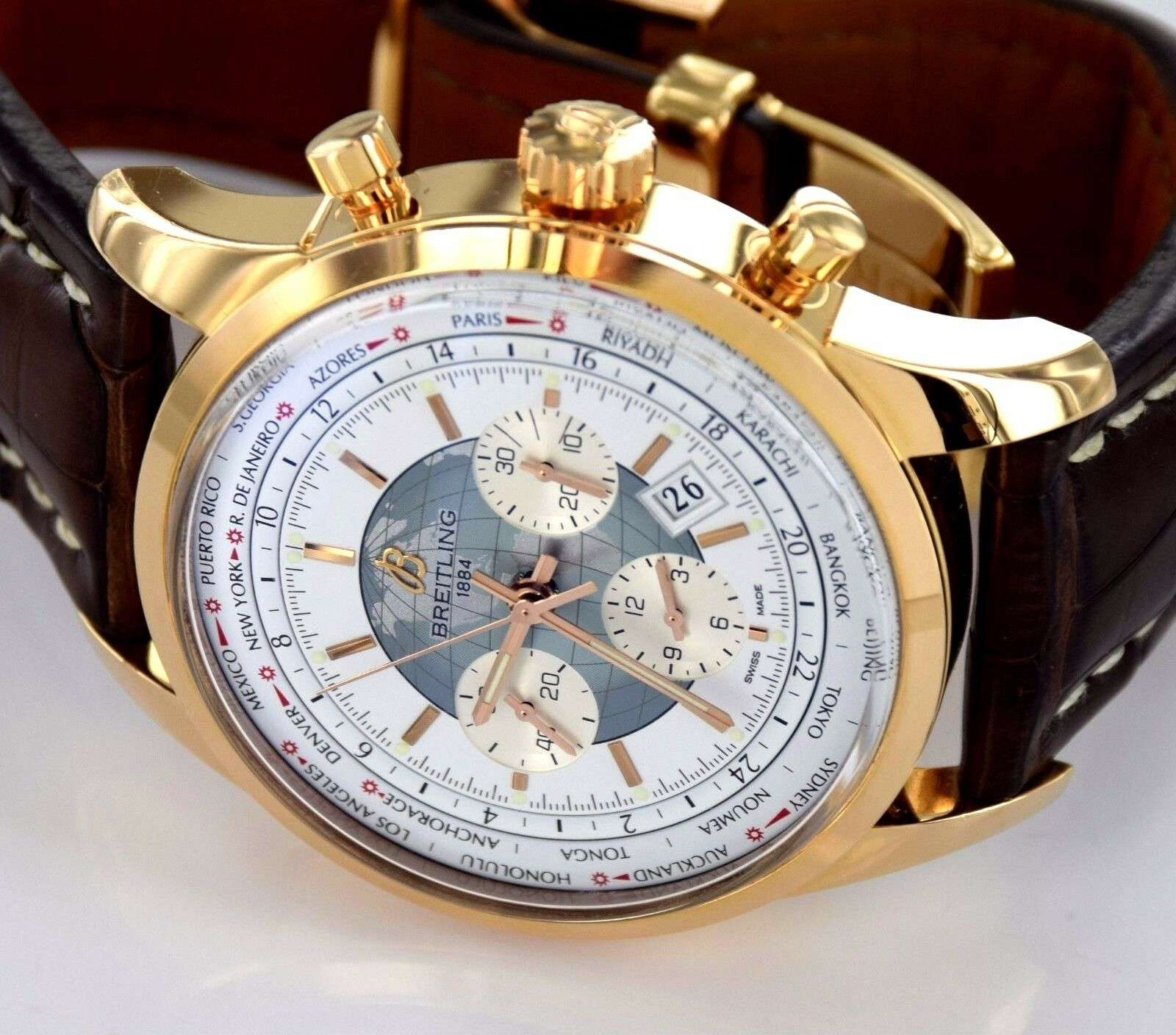 $10500.00 - BREITLING Transocean Unitime World Time RB0510 Chronograph 18k Rose Gold Watch