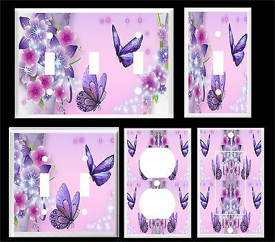 PURPLE BUTTERFLY FLORAL #2   LIGHT SWITCH COVER PLATE  U PICK (Butterfly Light Switch)