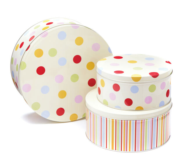Cooksmart Spots & Stripes Cake Storage Tins Set of 3 Canisters Container Box New