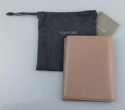 NWT TOM FORD Desert Sand Brown Pebbled Leather Bifold Card Holder Wallet $450