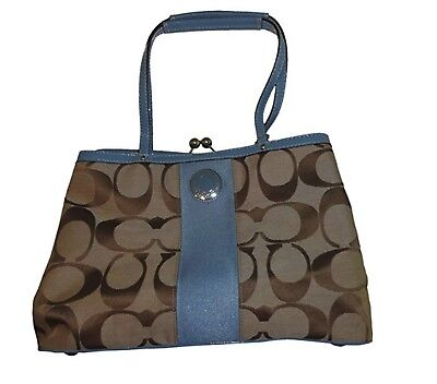 Coach Women's C Signature Stripe Frame Carryall Handbag Purse Tote Shoulder $328 Stripe Fabric Handbags
