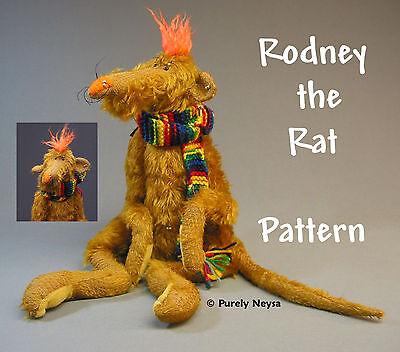 "Mohair/Plush ""Rodney the Rat"" a Rat PATTERN  by Neysa A. Phillippi Purely Neysa"