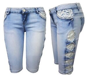 Womens Ladies Denim Skinny 3/4 Jeans Crochet Lace Party Capri ...