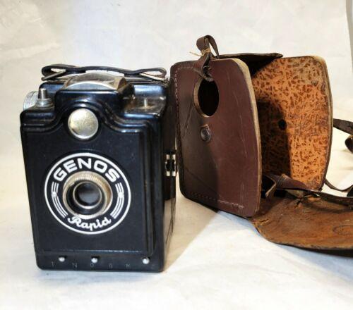 GENOS RAPID vtg Art Deco Box Camera 120, Medium Format Leather Case, Untested