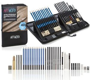 Pro Sketching Drawing Art Pencil Kit Student Graphite Charcoal Stick Artists Set