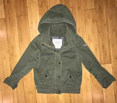 Abercrombie & Fitch Women's Green Denim Jacket with Hood Size Large Vintage 2014