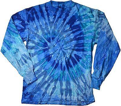 Blue Jerry Long Sleeve Tie Dye T-Shirt Adult S - 3X Cotton -