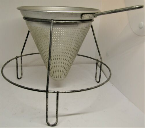 Vintage Aluminum Food Sieve Mill Ricer Colander Strainer with Stand. 315
