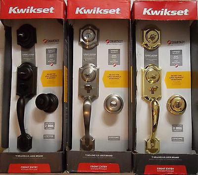 KWIKSET MONTARA Handleset Bronze Satin Nickel Brass Smartkey Front Entry Knob ()