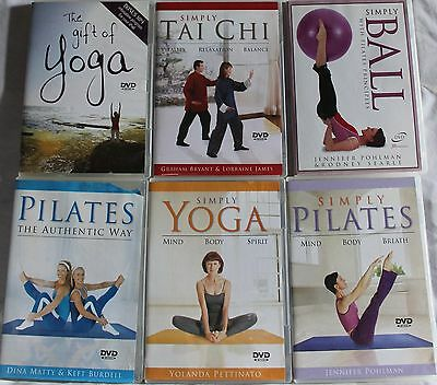 6 Simply workout exercise fitness DVD lot Tai Chi pilates ball gift of yoga