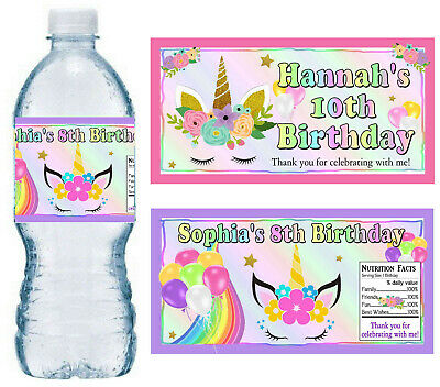 - 20 UNICORN BIRTHDAY PARTY FAVORS WATER BOTTLE LABELS ~ PERSONALIZED