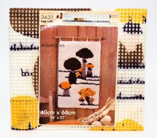 "Vintage Rugnelle Hook Rug Carpet Printed Canvas Mushrooms 16"" x 27"" New #3433"