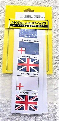 Model Shipways Fittings MS 8850C. US & British Flag 3/4 X 1-1/8 Cloth.1 Per PK