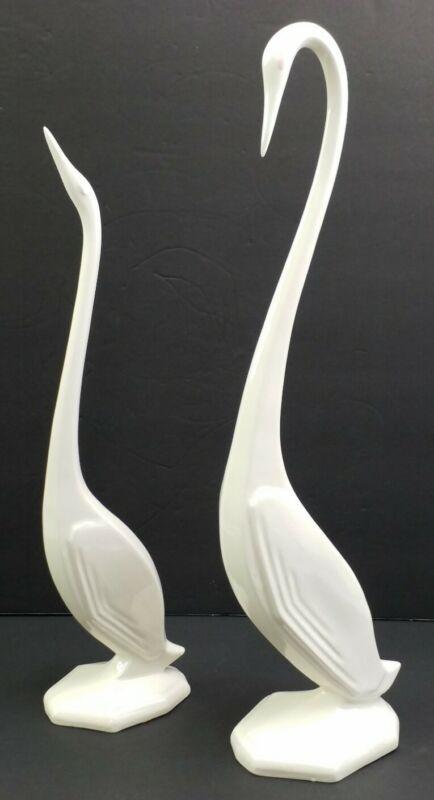 Mid-Century Modern Tall White Ceramic Cranes Swans Egrets Decor MCM Large