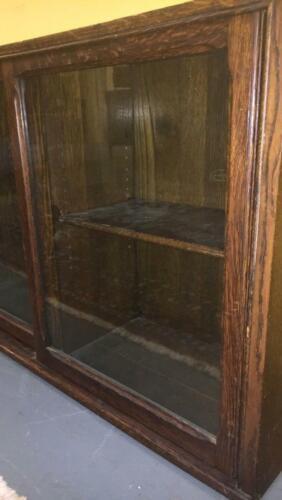 Antique Oak Danner Sliding Glass Door Bookcase Vintage Furniture Display Case