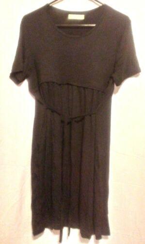 NEW Maternity & Zippered Nursing Dress - Black - Medium