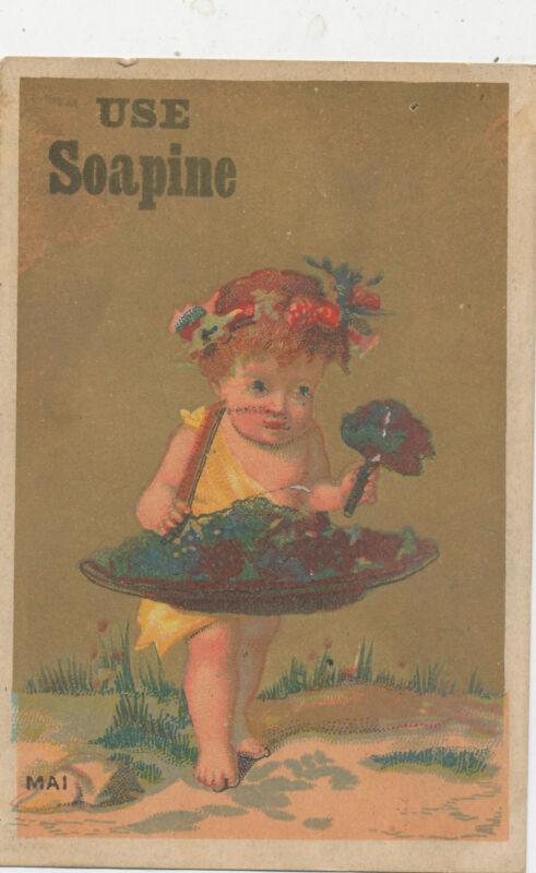 D3059  VICTORIAN TRADE CARD  SOAP SOAPINE FLOWER GIRL