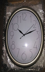 *NEW* ITC 11 OVAL WALL CLOCK 32040-NI NICKEL WITH BLACK LETTERING QUARTZ