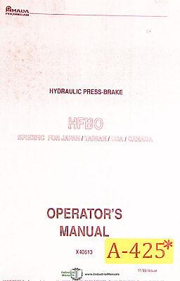 Amada Hfbo Press Brake Operations Parts And Electrical Manual Year 1995