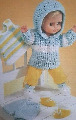 """Knitting Pattern Dolls Clothes Tracksuit Trainers 12""""- 22"""" in Double Knitting"""