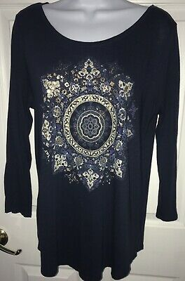 Lucky Brand Tunic Shirt Sz MEDIUM Mandala Metallic Foil Navy Blue 3/4 Sleeve 3/4 Sleeve Metallic Foil