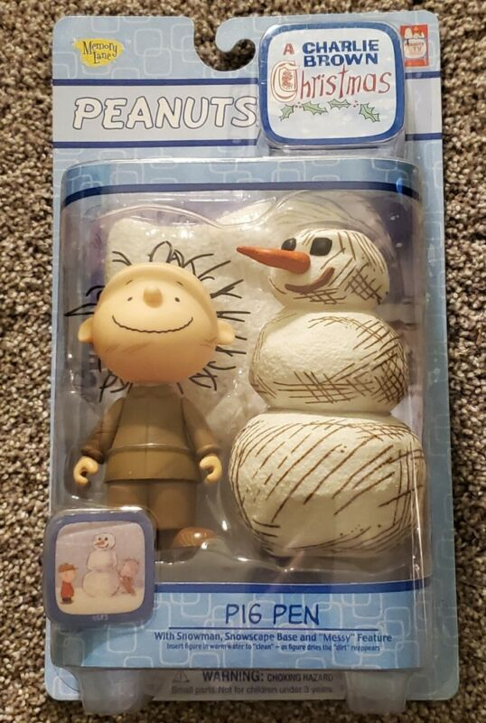 Charlie Brown Pig Pen & Snowman Christmas Figures Messy Base Memory Lane NIB NEW