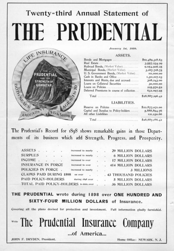 PRUDENTIAL LIFE INSURANCE COMPANY VINTAGE 1899 ADVERTISEMENT ASSETS LIABILITIES