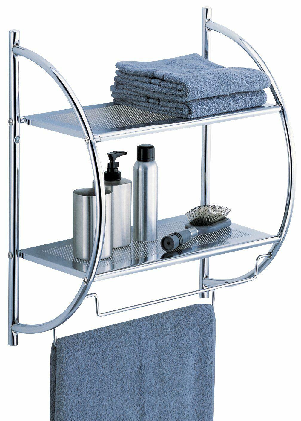Organize It All 1753W-B Wall Mount 2 Tier Chrome Bathroom Sh