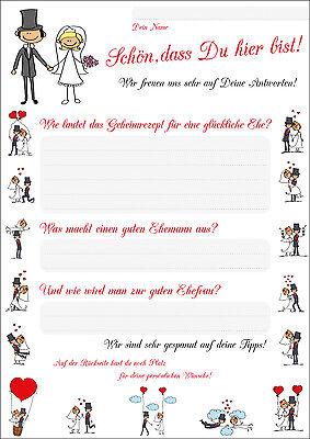 Lustiges Hochzeitsspiel - 55 Postkarten mit Fragen zum Thema